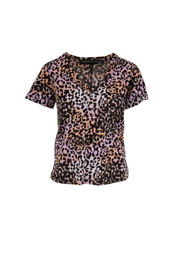 Veronica Beard Casey Lilac Multi Leopard Print V-Neck T-Shirt