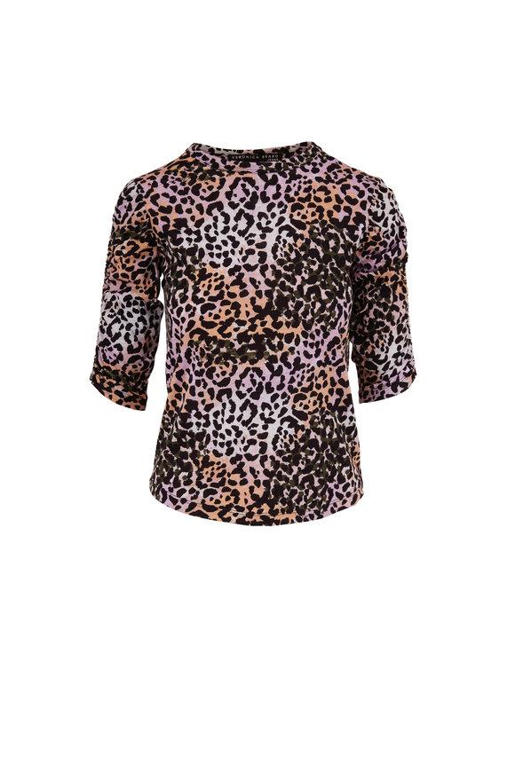 Veronica Beard Waldorf Lilac Multi Leopard Print Elbow Sleeve Tee