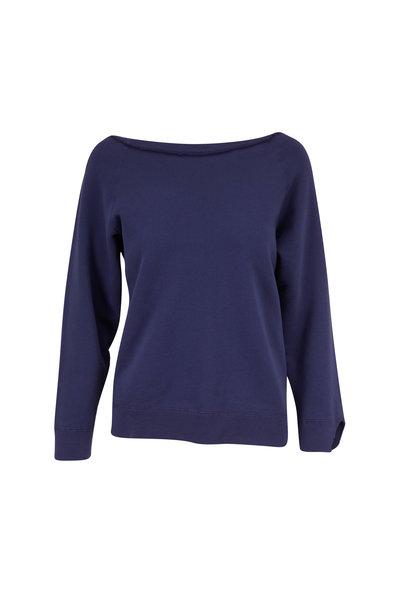 Nili Lotan - Luka French Blue Scoop Neck Sweatshirt