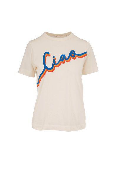Chinti & Parker - Off White Cotton Ciao Graphic T-Shirt