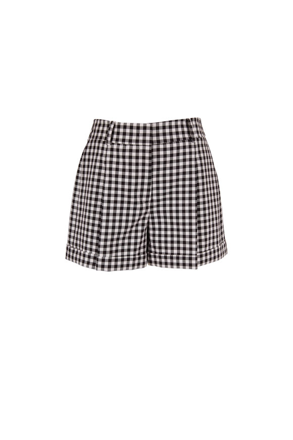 Michael Kors Collection Black & White Gingham Cuffed Shorts