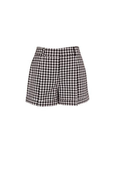 Michael Kors Collection - Black & White Gingham Cuffed Shorts