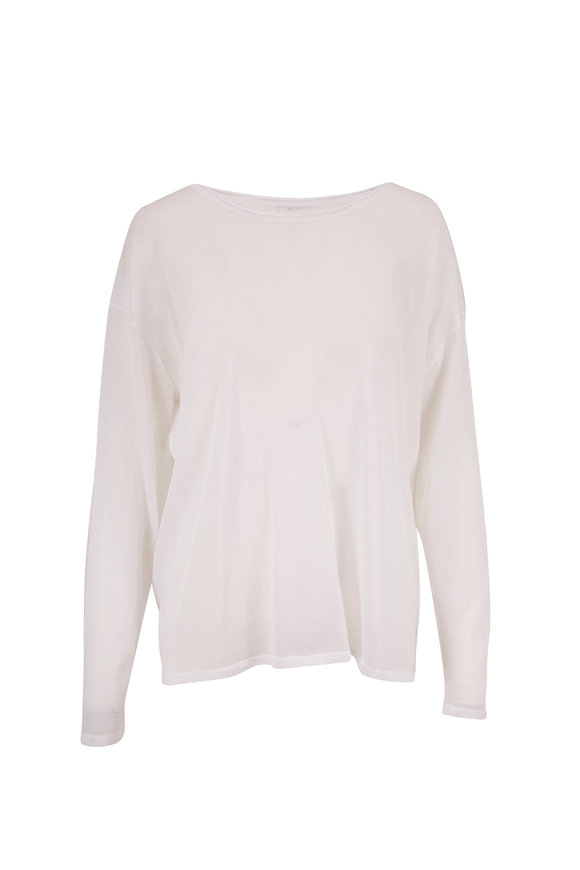 The Row Emilia White Long Sleeve Top