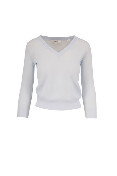 Vince - Powder Blue Three-Quarter Sleeve V-Neck Sweater