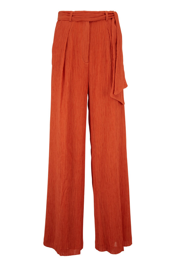 Gabriela Hearst Thomazia Spice Crinkled Cotton & Silk Belted Pant