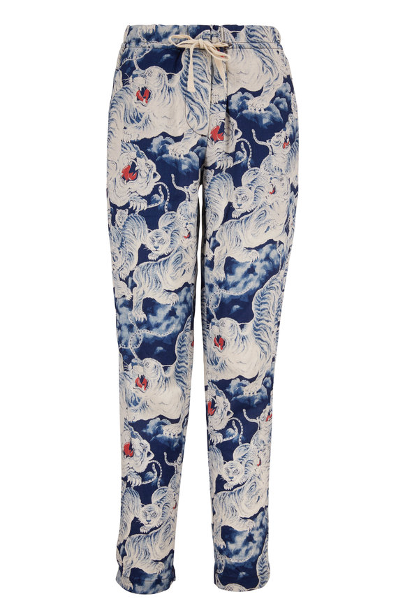 Overlover Yucca Blue & White Tiger Print Linen Pant