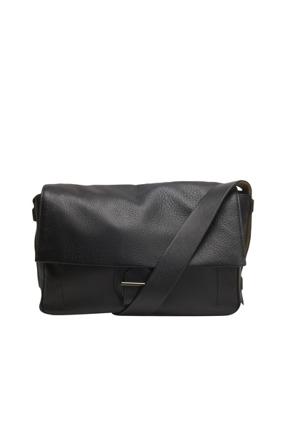 Reed Krakoff - Black Leather Flap Buckle Messenger Bag