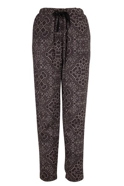 Overlover - Yucca Black Kaleido Linen Drawstring Pant