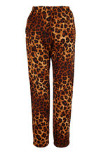 Overlover - Yucca Tan Leopard Satin Cotton Drawstring Pant