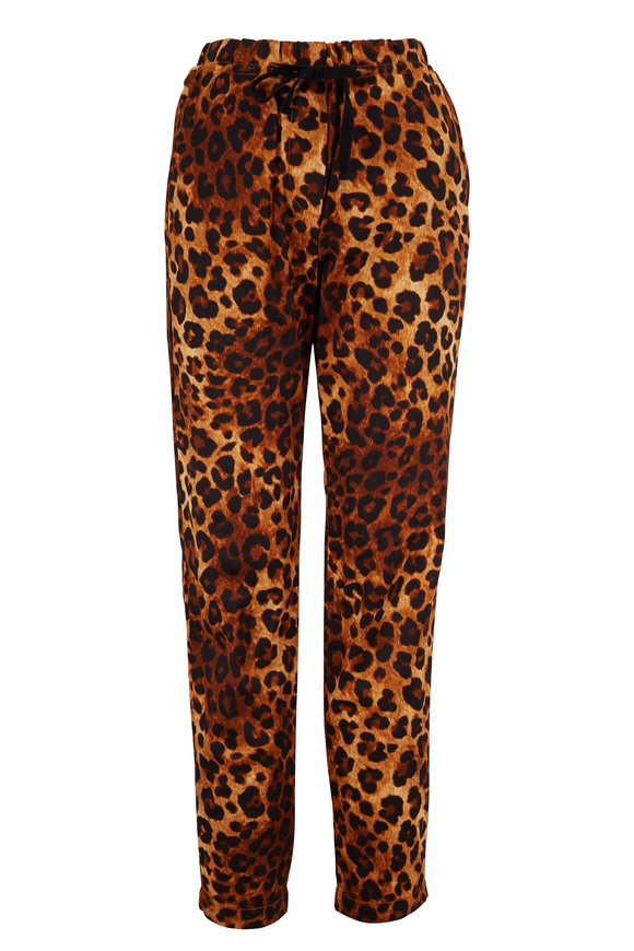 Overlover Yucca Tan Leopard Satin Cotton Drawstring Pant