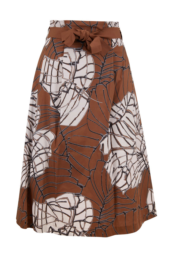 D.Exterior Tobacco Poplin Printed Front Tie Skirt