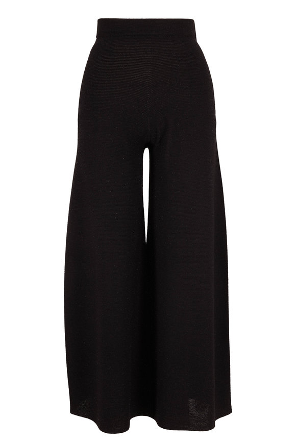 D.Exterior Black Lurex Pull-On Crop Pant