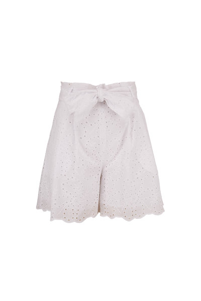 D.Exterior - White Eyelet Lace Front Tie Shorts