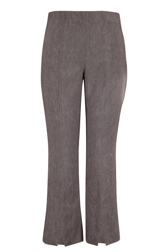 D.Exterior Graphite Stretch Linen Side Zip Crop Pant
