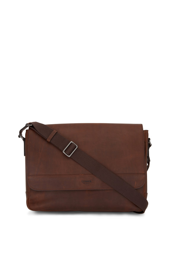 Shinola Medium Brown Navigator Leather Slim Messenger
