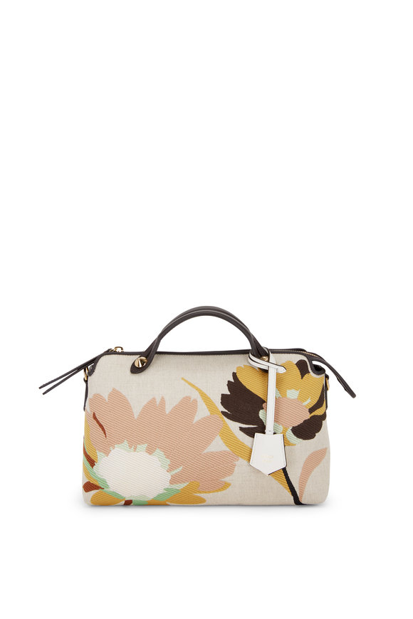 Fendi By the Way Floral Embroidered Canvas Boston Bag