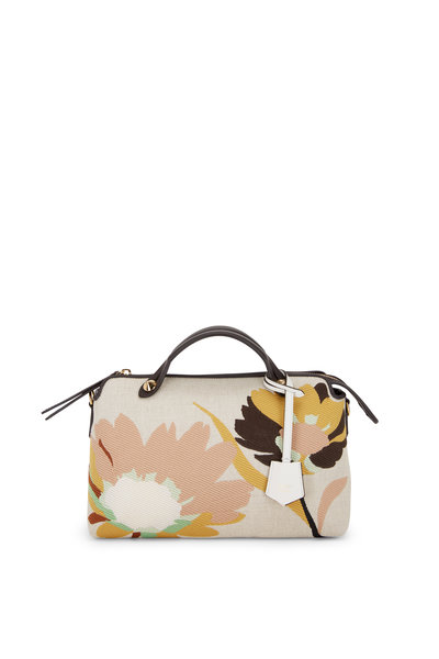 Fendi - By the Way Floral Embroidered Canvas Boston Bag