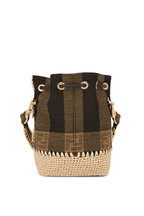 Fendi - Mon Tresor Brown Jacquard & Raffia Mini Bucket Bag