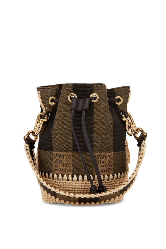 Fendi Mon Tresor Brown Jacquard & Raffia Mini Bucket Bag