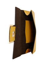 Fendi - Yellow Leather Pequin Webb Strap Flat Baguette