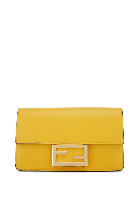 Fendi Yellow Leather Pequin Webb Strap Flat Baguette