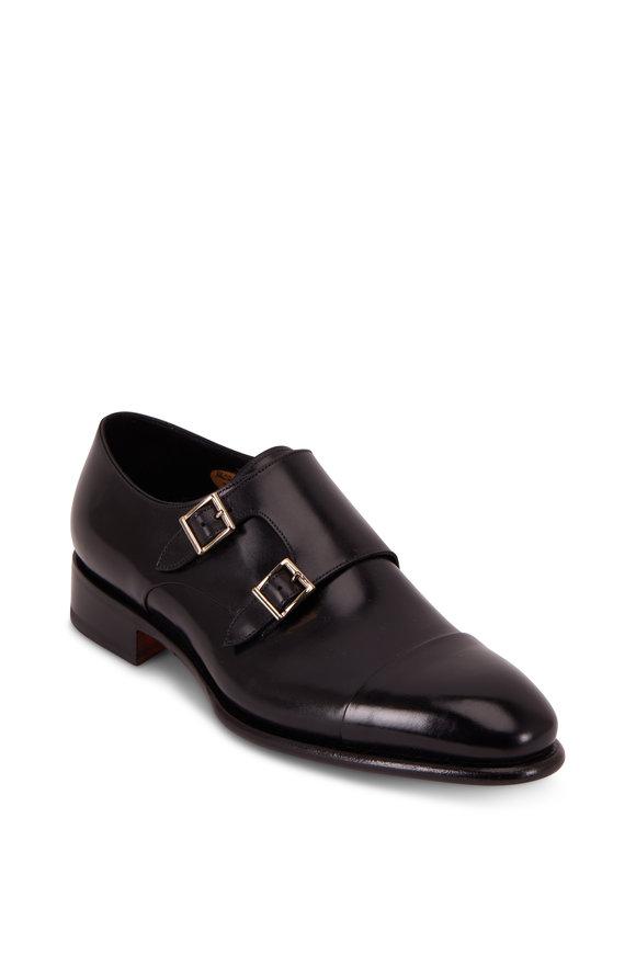 Santoni Ira Black Leather Cap Toe Double-Monk Shoe