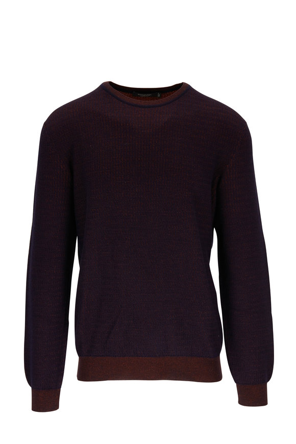 Ermenegildo Zegna Navy & Rust Textured Cashmere & Silk Pullover