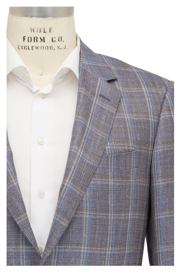 Canali Light Blue & Brown Wool Blend Sportcoat