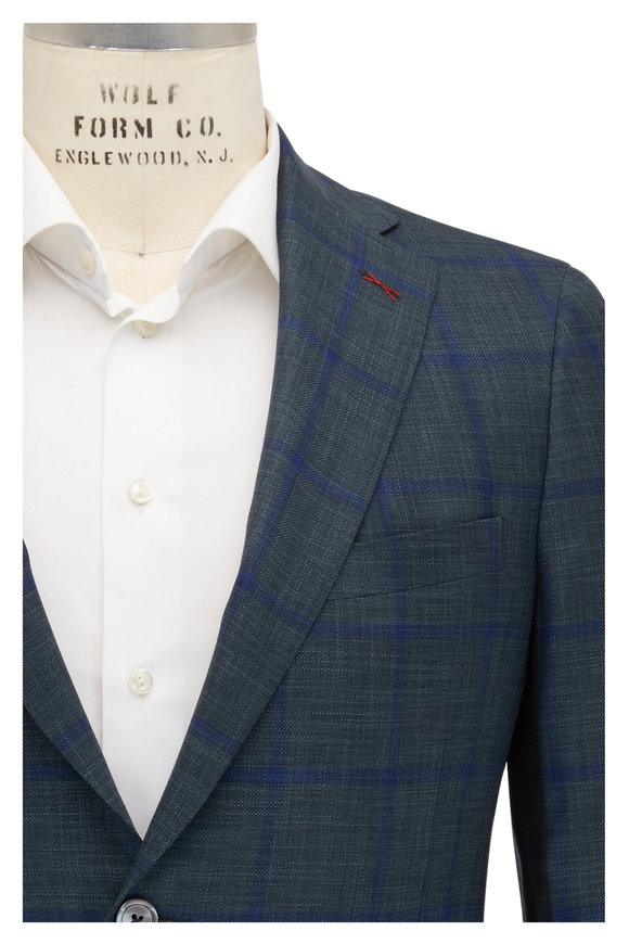 Samuelsohn Michael2 Green & Blue Plaid Wool & Silk Sportcoat