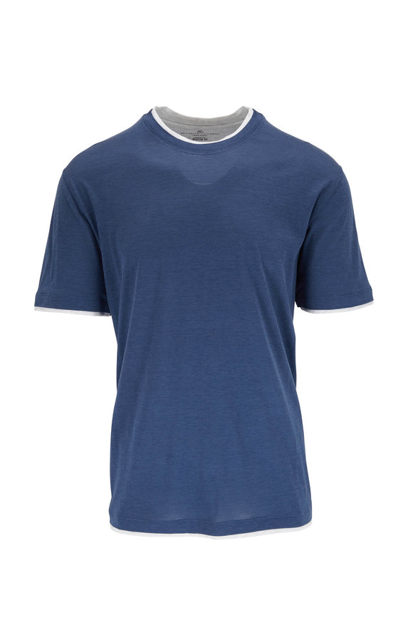 Brunello Cucinelli Blue Silk & Cotton Regular Fit T-Shirt