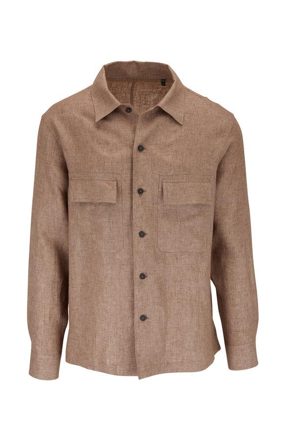Ermenegildo Zegna Tan Linen Button Front Overshirt