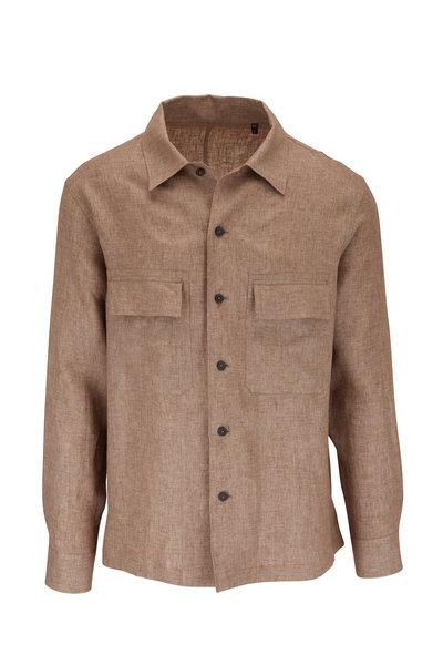 Ermenegildo Zegna - Tan Linen Button Front Overshirt