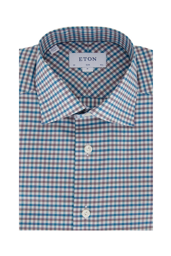 Eton Teal & Gray Gingham Slim Fit Dress Shirt