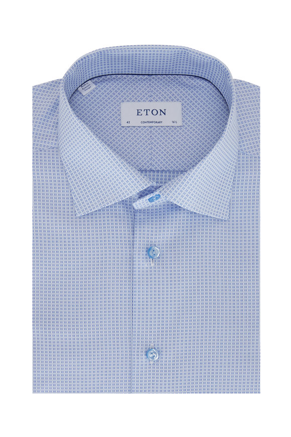 Eton Light Blue Geometric Contemporary Fit Dress Shirt