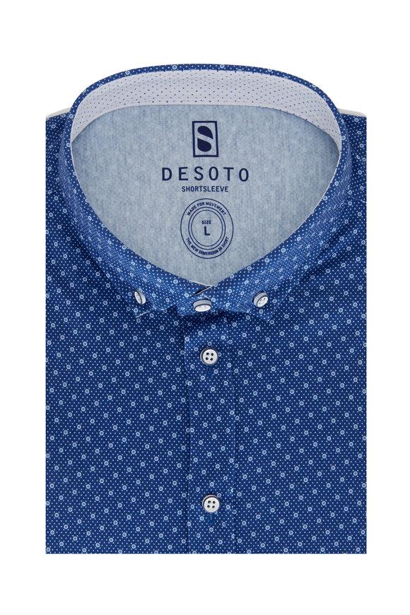 Desoto Navy Blue Geometric Short Sleeve Sport Shirt