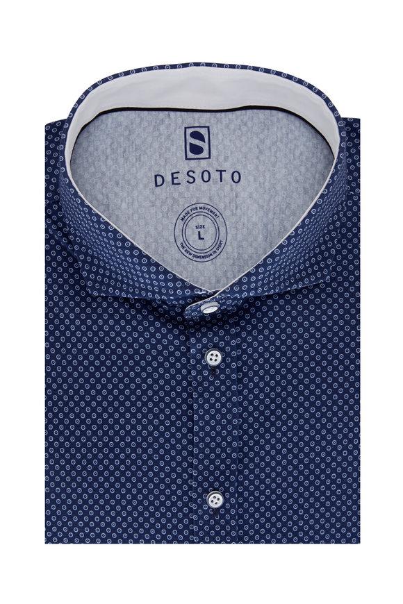 Desoto Navy Blue Geometric Sport Shirt