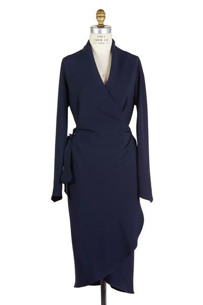 Peter Cohen - Navy Blue Long Sleeve Draped Dress