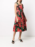 Dolce & Gabbana - Red & Black Laceleaf Print Poplin Midi Dress