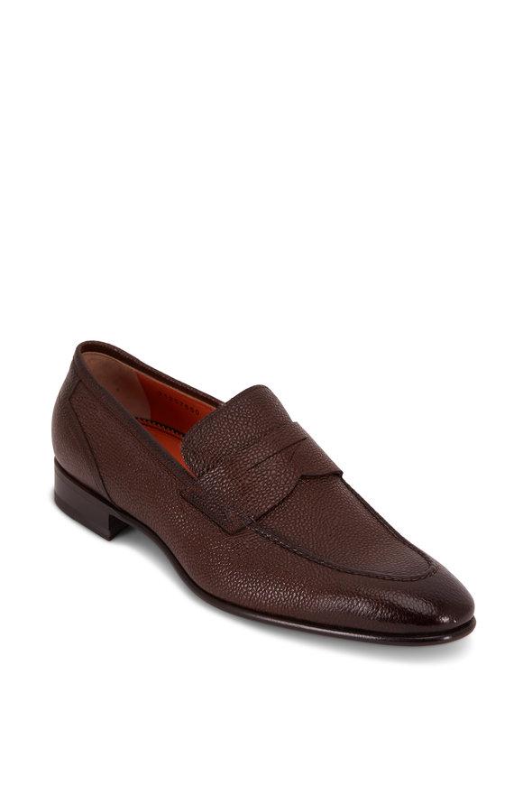 Santoni Felipe Dark Brown Pebbled Leather Penny Loafer