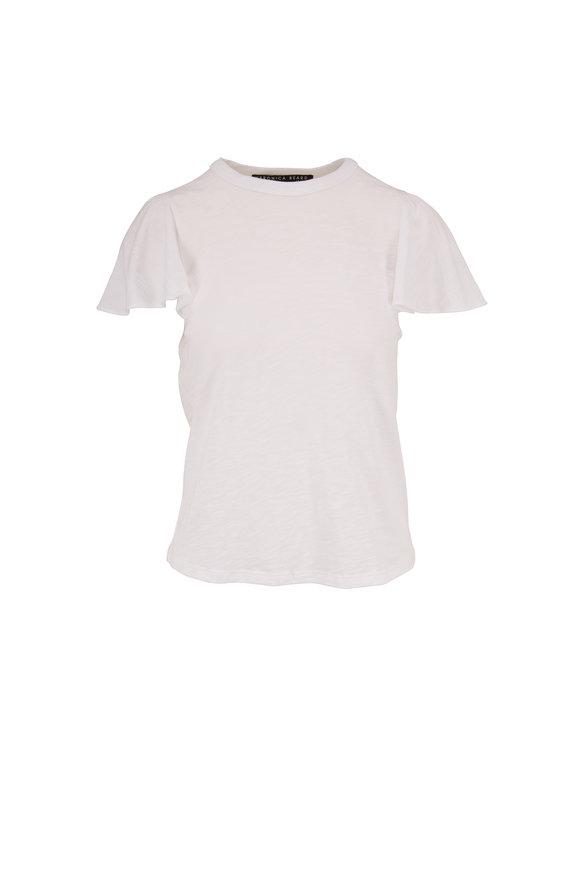 Veronica Beard Zuma White Ruffle Sleeve T-Shirt