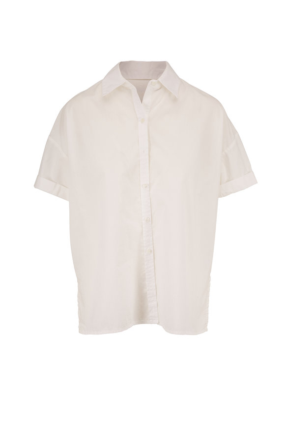 Nili Lotan Nadia White Short Sleeve Button Down Shirt