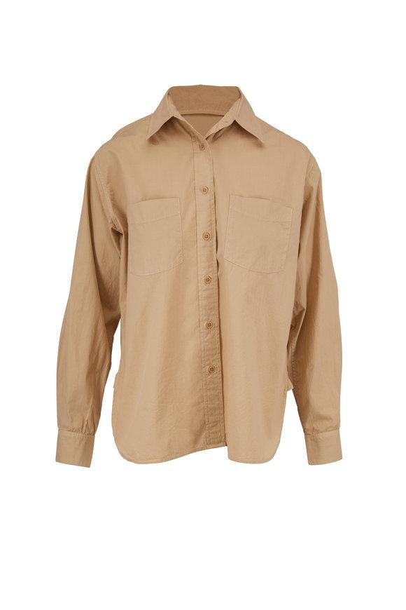 Nili Lotan Kelsey Khaki Cotton Two-Pocket Blouse