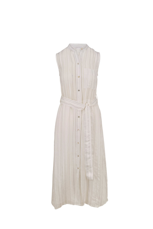Vince Optic White Drapey Stripe Sleeveless Shirtdress