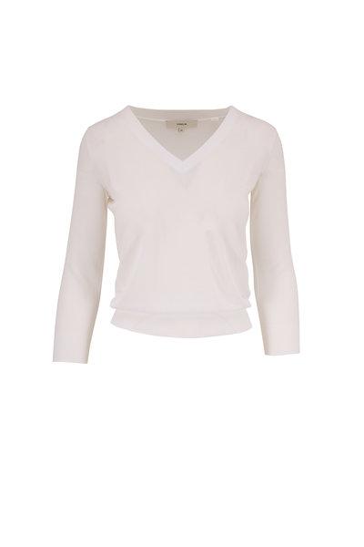 Vince - Optic White Fine Gauge Cotton V-Neck Sweater