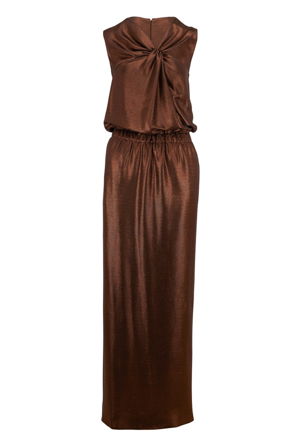 Tom Ford Bronze Lamé Jersey Sleeveless Gown