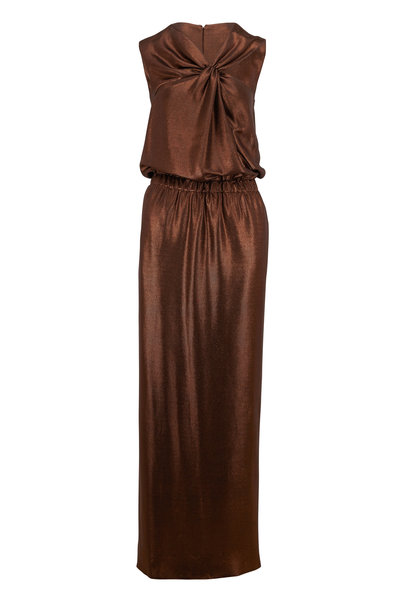 Tom Ford - Bronze Lamé Jersey Sleeveless Gown