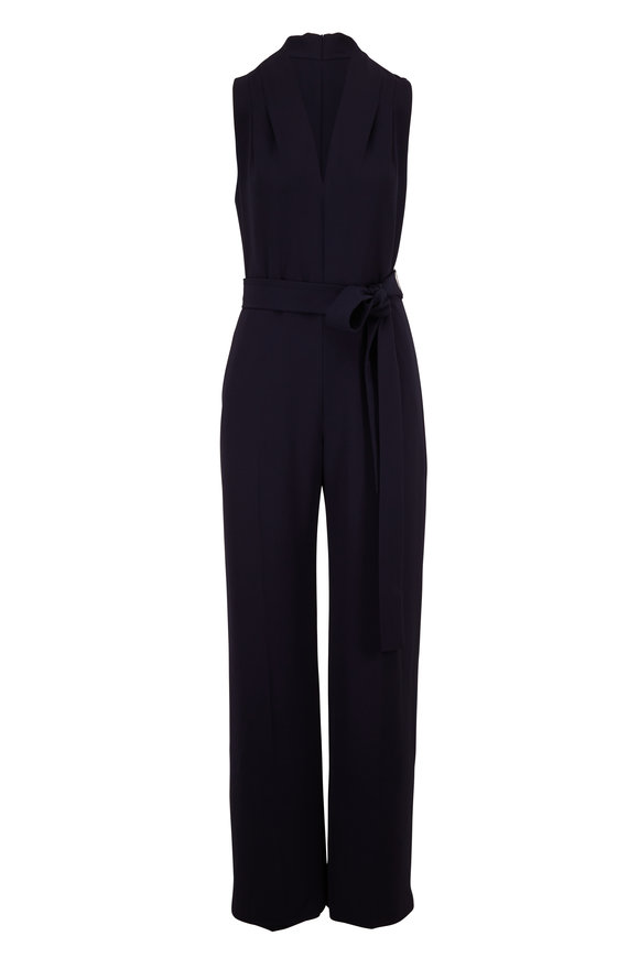 Lela Rose Navy Belted V-Neck Sleeveless Jumpsuit