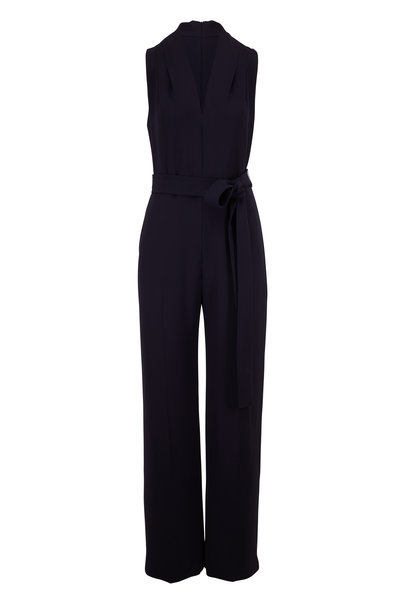 Lela Rose - Navy Belted V-Neck Sleeveless Jumpsuit