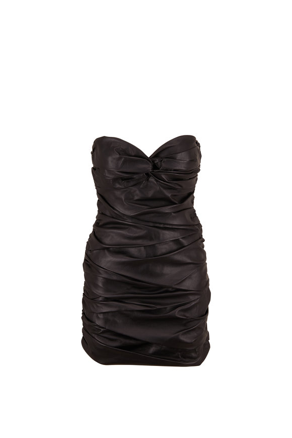 Zeynep Arcay Black Ruched Leather Bustier Dress