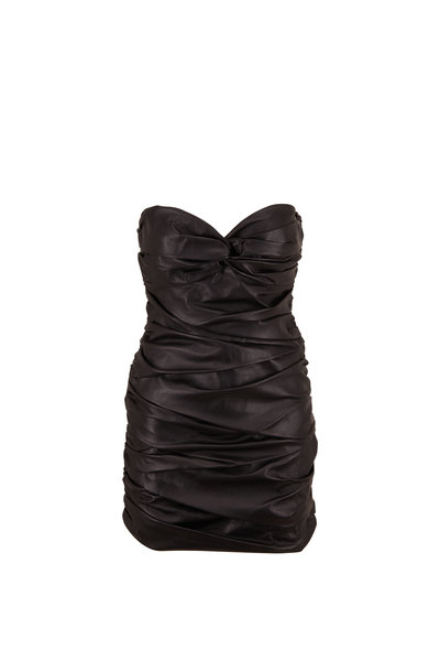 Zeynep Arcay - Black Ruched Leather Bustier Dress